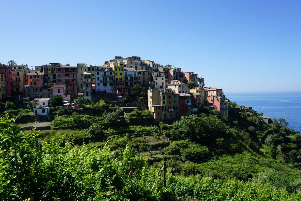 View of Italian town Corniglia