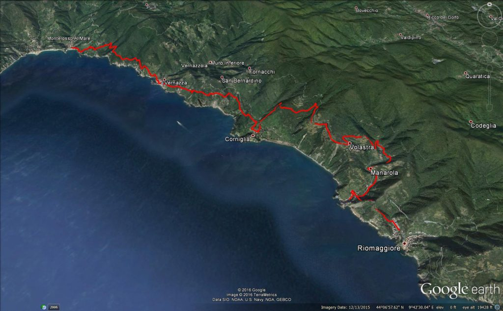 Cinque Terre Hiking Trail Map