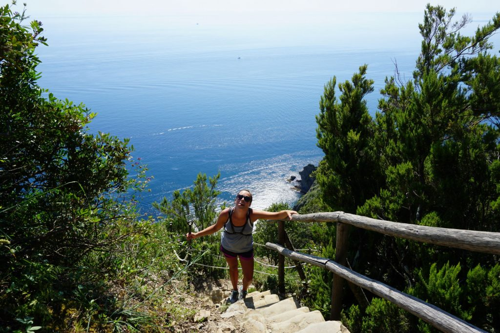Hiking out of Manarola towards Riomaggiore