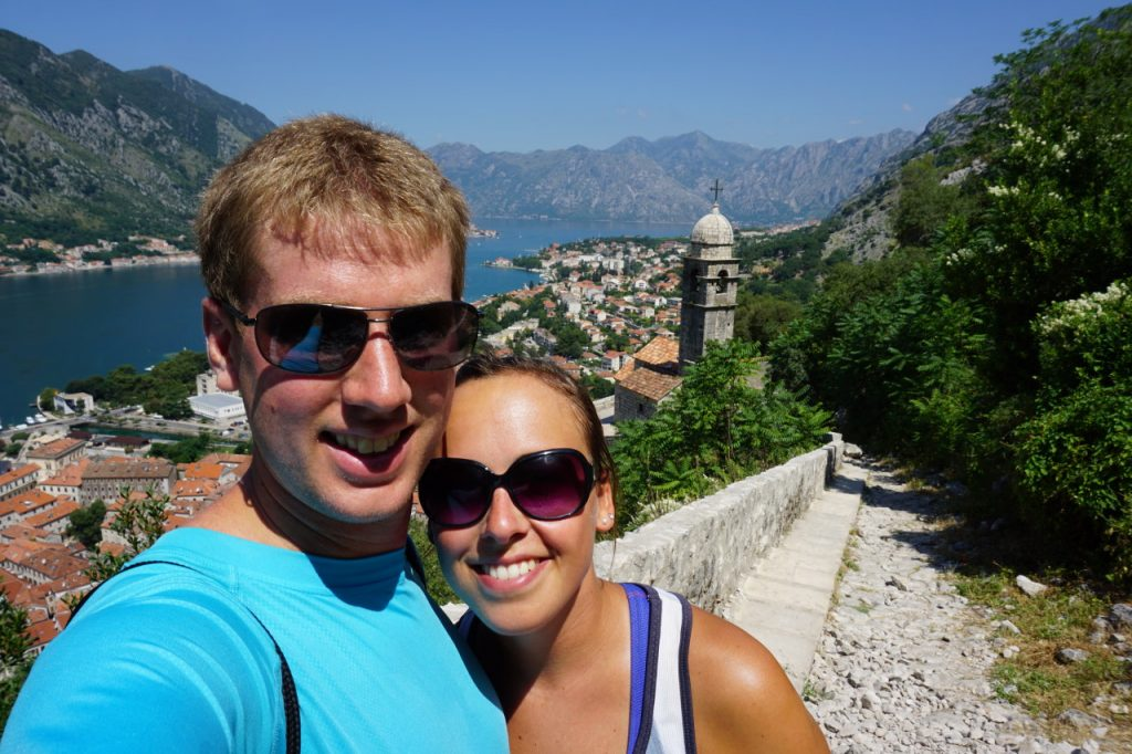 Hiking up the city walls in Kotor, Montenegro
