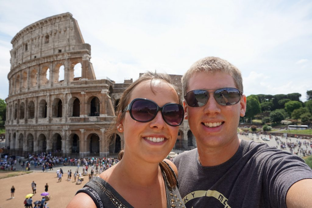 3 week long honeymoon with a stop at the Colosseum in Rome