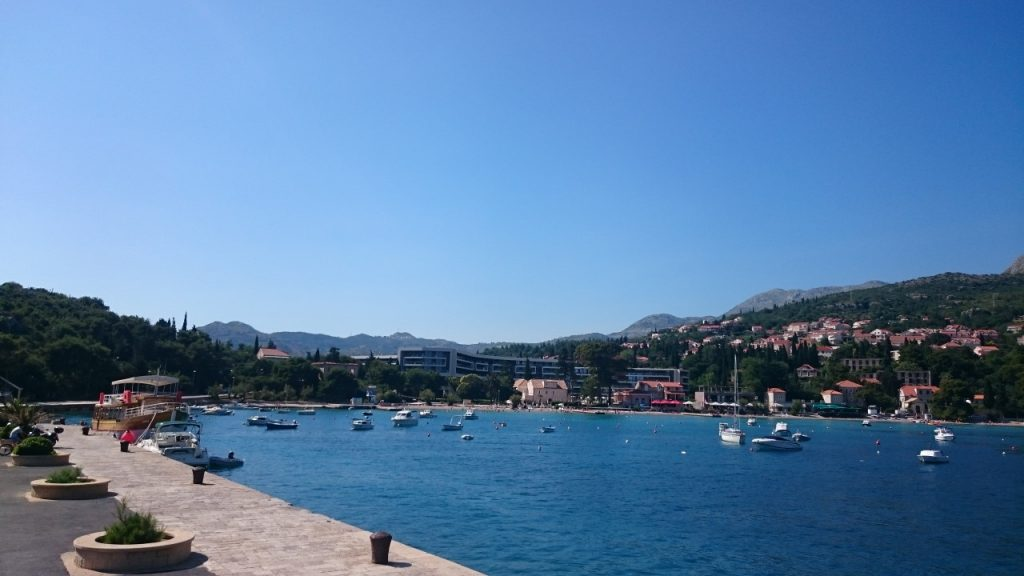View of the beach near the Sheration Dubrovnik in Croatia