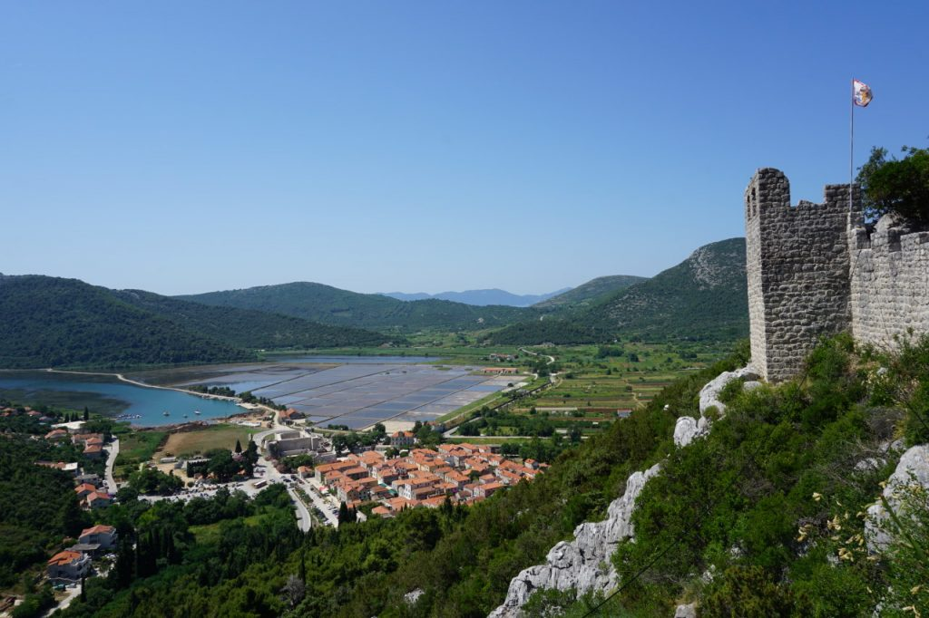 View of Ston on top of Great Walll of Croatia