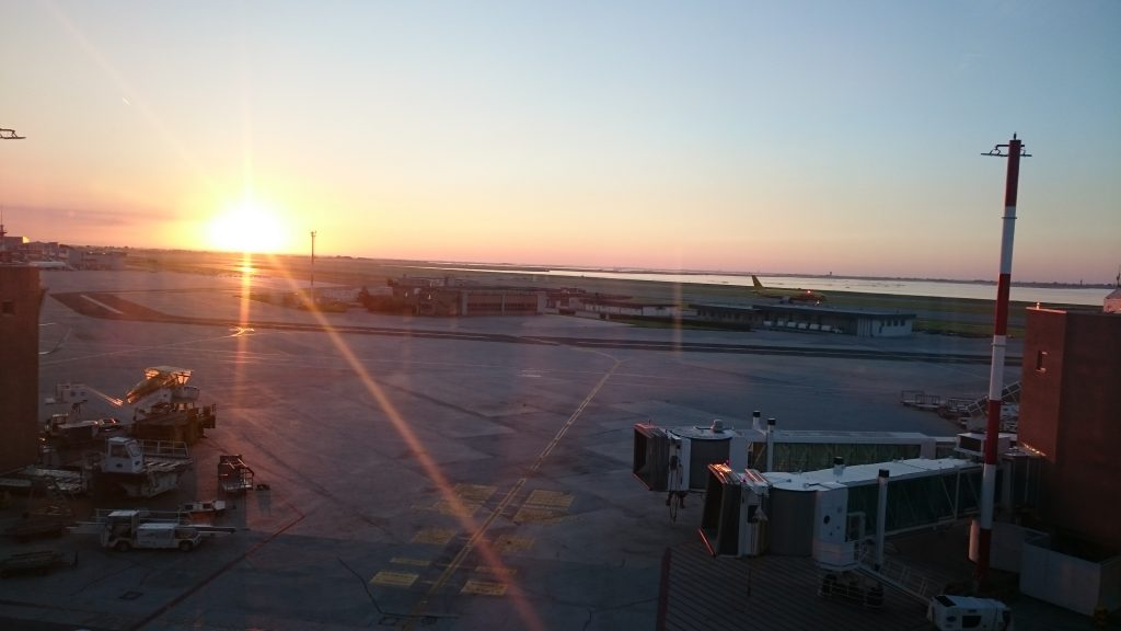 Sunrise on Marco Polo observation deck at Venice Airport