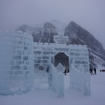 Ice sculpture on Lake Louise in the winter