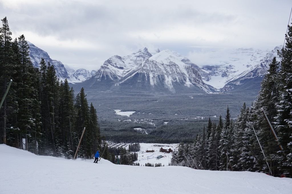View of Lake Louise while skiing down the mountain
