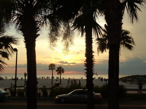 Clearwater Beach sunset from across the street