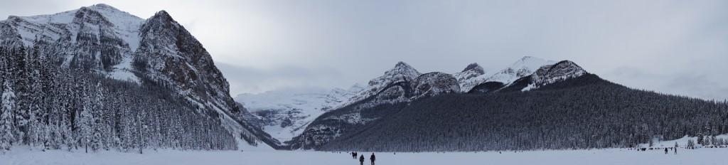 Panoramic Lake Louise in the winter
