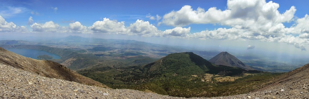 Panaromic view from the top of Santa Ana Volcano with Lake Coatepeque and Izalco Volcano