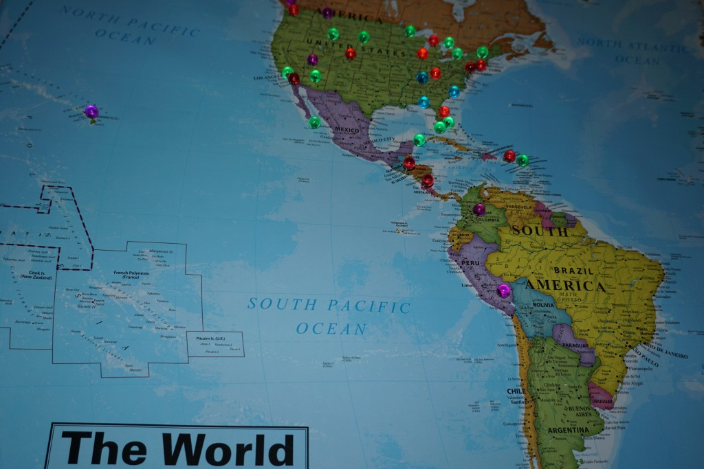 World Map showing my travel goals aka bucket list