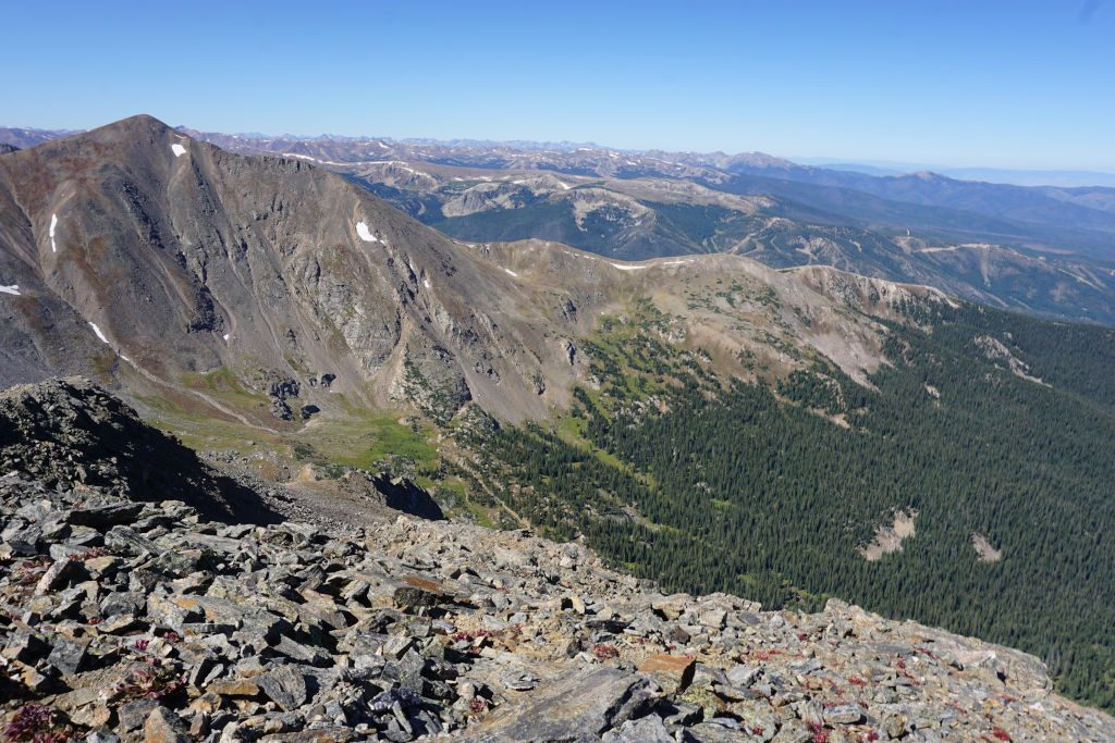 View looking west from James Peak towards Parry Peak and Winter Park