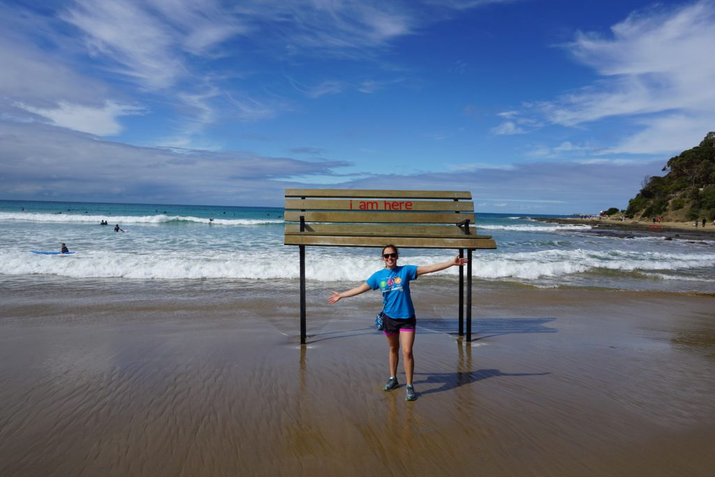 Beautiful Lorne at the massive I Am Here bench