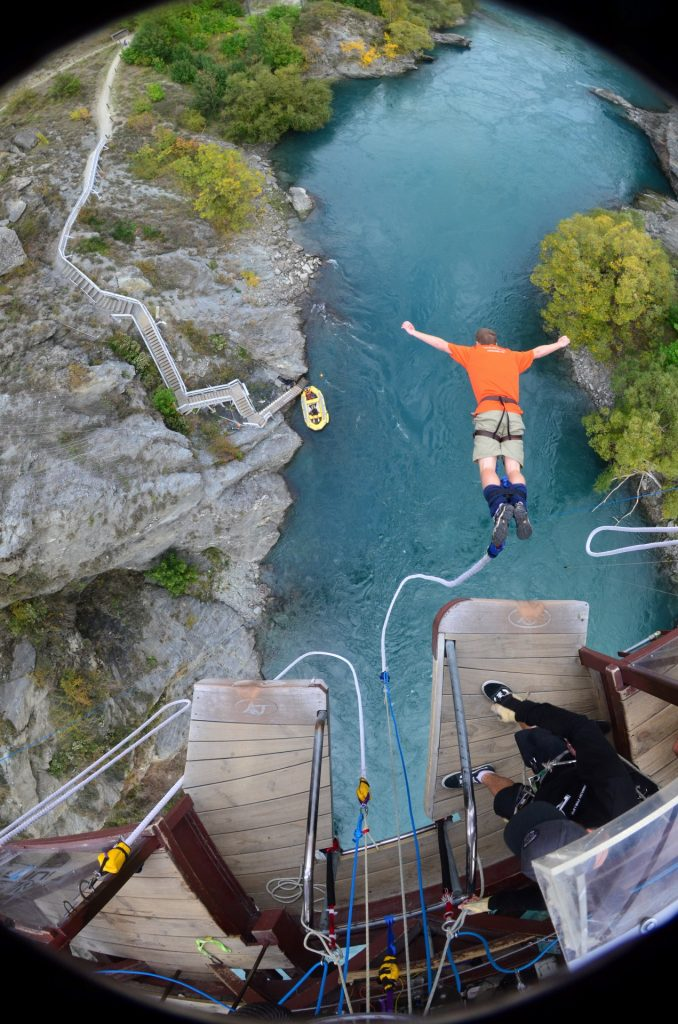 Bungy jumping off the Kawarua bridge