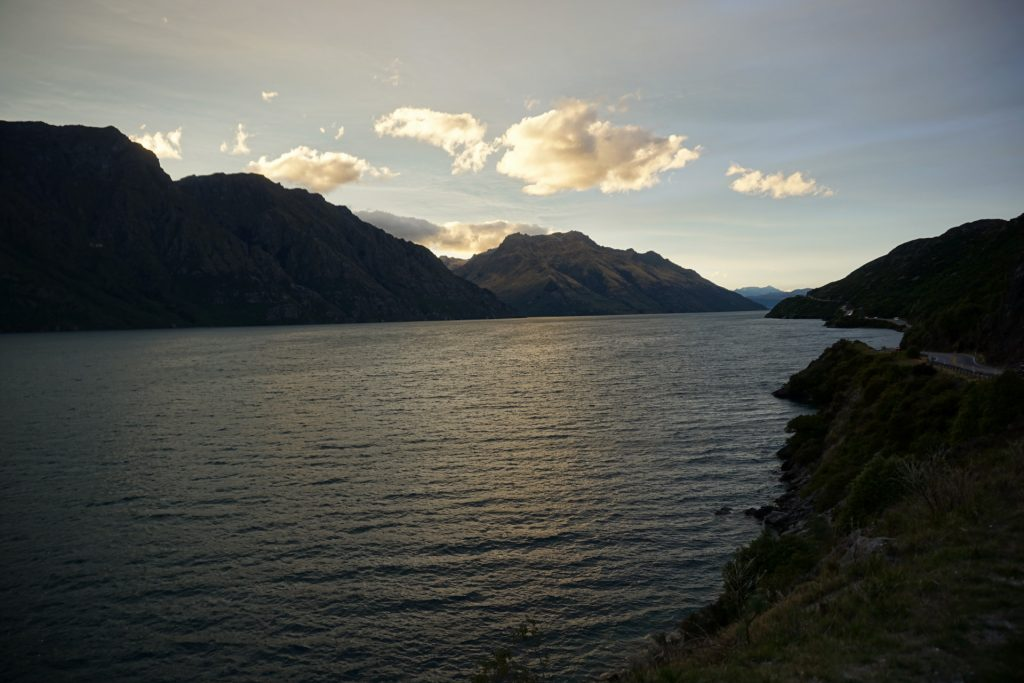 Sunset driving along Lake Wakatipu