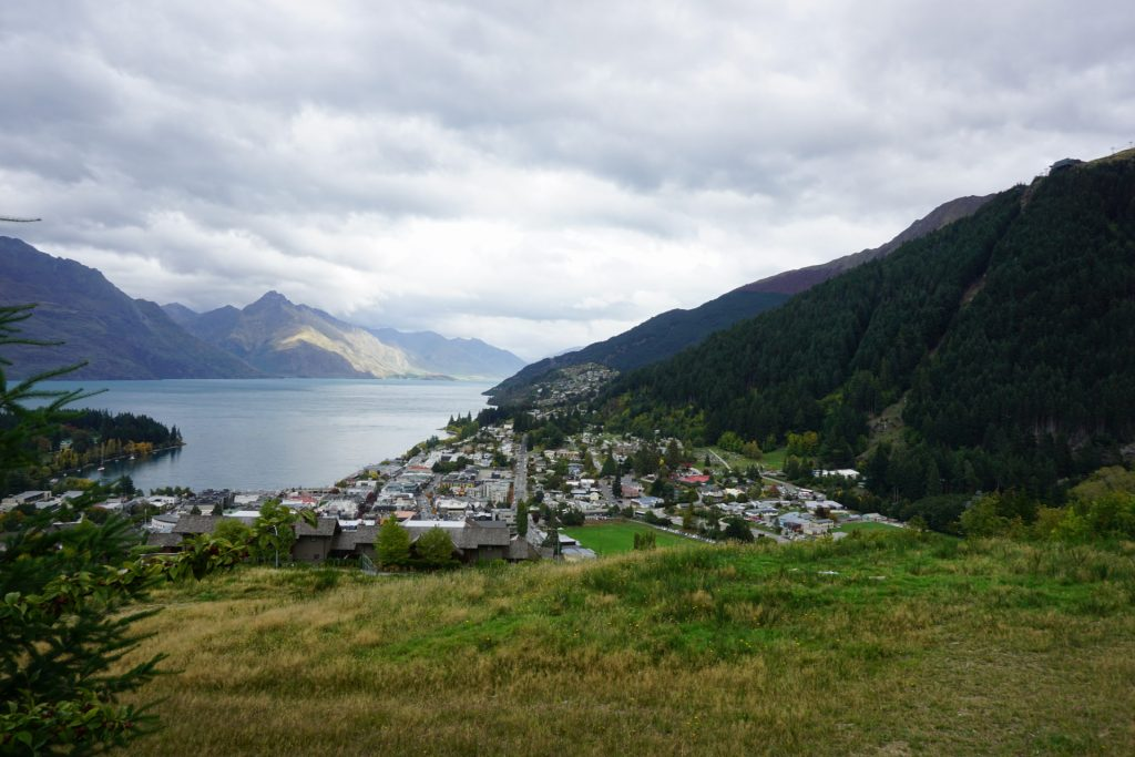 View of Queenstown from top of the hill