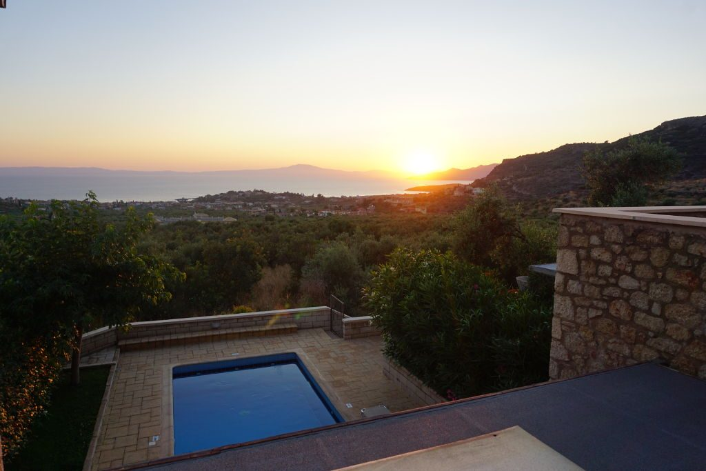 View of a sunset at our private villa in Stoupa, Greece.