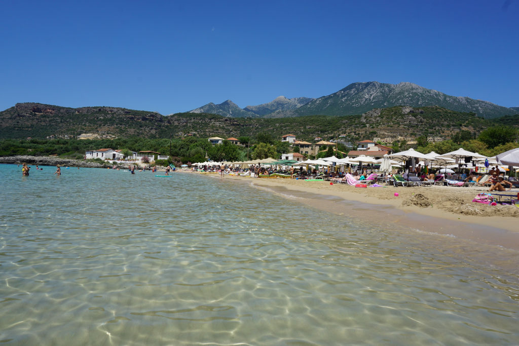 View of Kalogira beach in Stoupa, Greece.