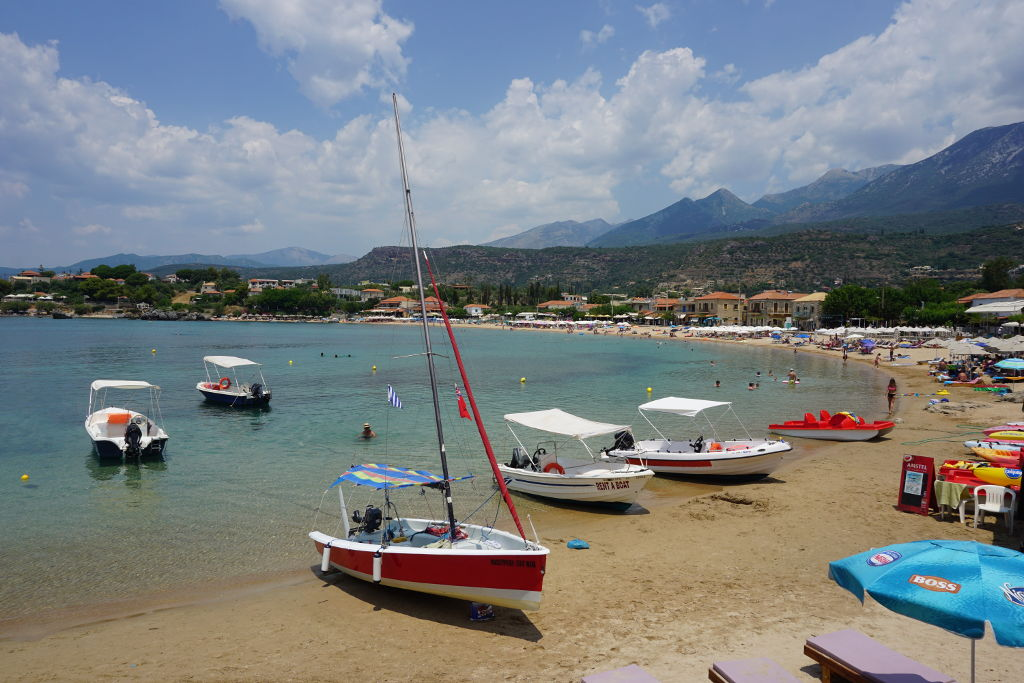 View of the beach in Stoupa, Greece.