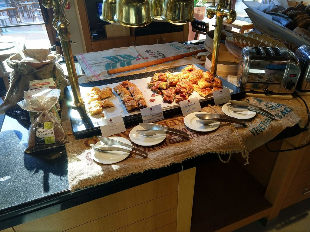 View of the breakfast buffet at Kooc in the Westin Costa Navarino.