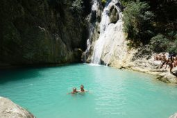 The Polylimnio Waterfalls in Peloponnese Greece