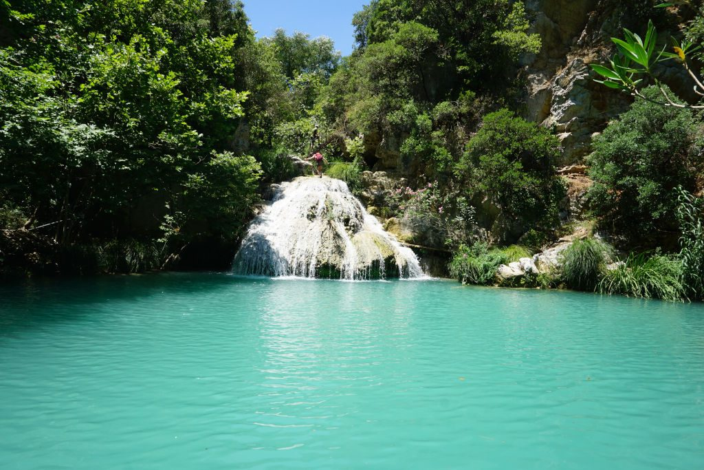 View of the Polylimnio Waterfalls in Greece