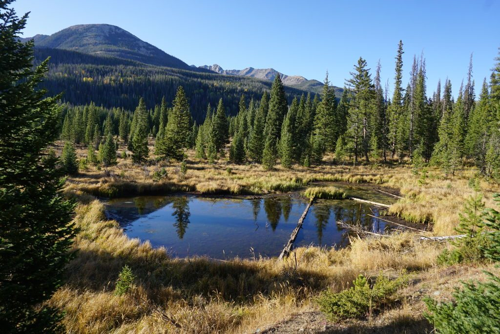 View of Rocky Mountain National Park in Fall.