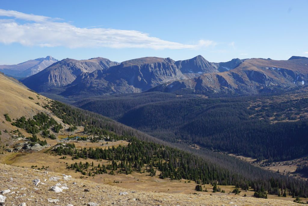 View of Rocky Mountain National Park from the top of the ridge.