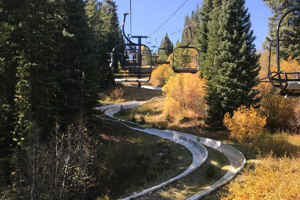View of the alpine slide at Winter Park, Colorado.