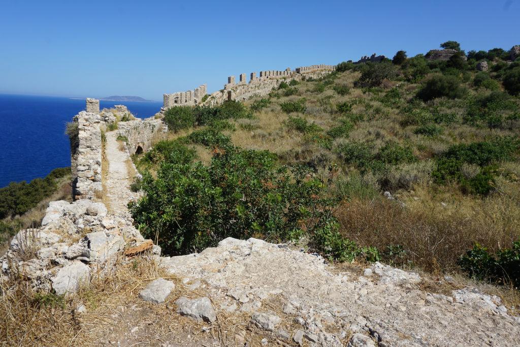 View of Navarino Castle near Voidokilia Beach