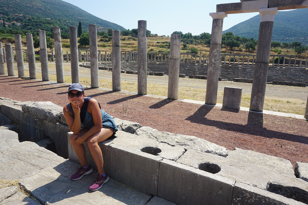 Toilets at the stadium in Ancient Messene, Greece.
