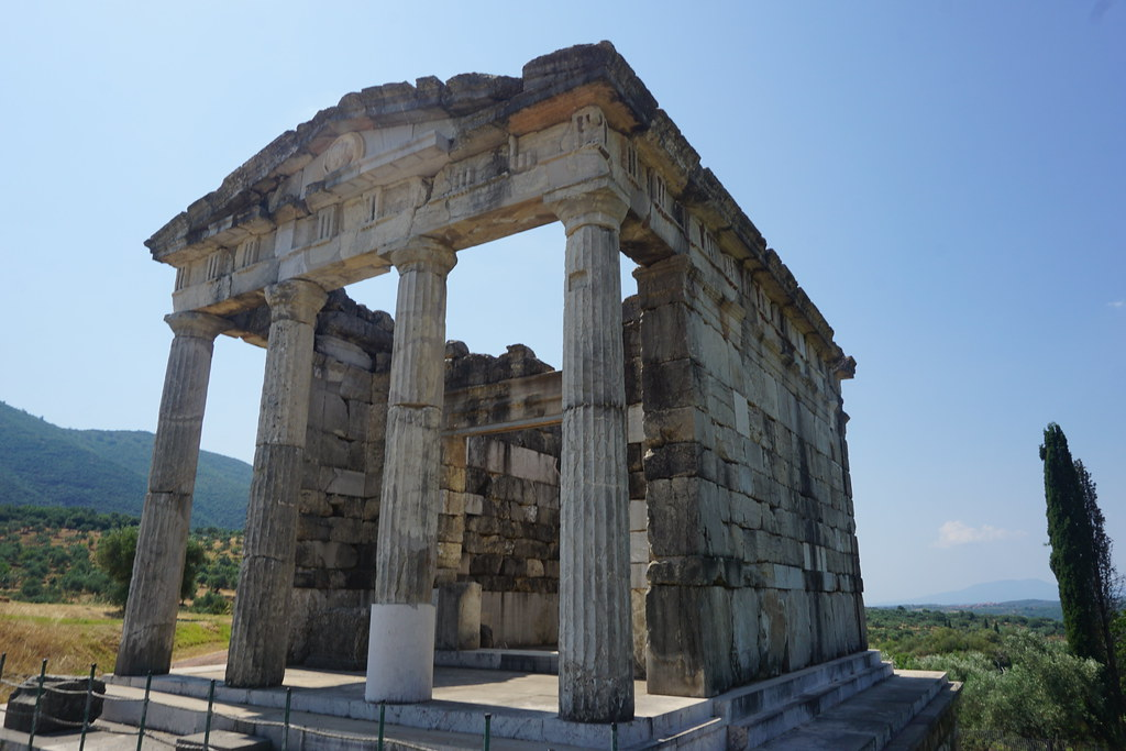Temple in the stadium in Ancient Messene, Greece.