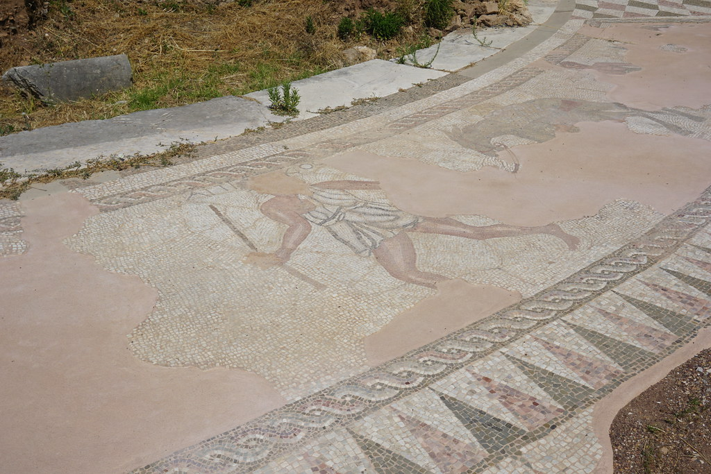 Mosaic tiles in Ancient Messene, Greece.