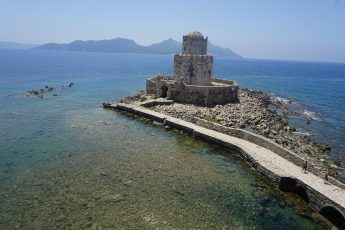 View of the Methoni Castle and Sapientza Isle in Greece
