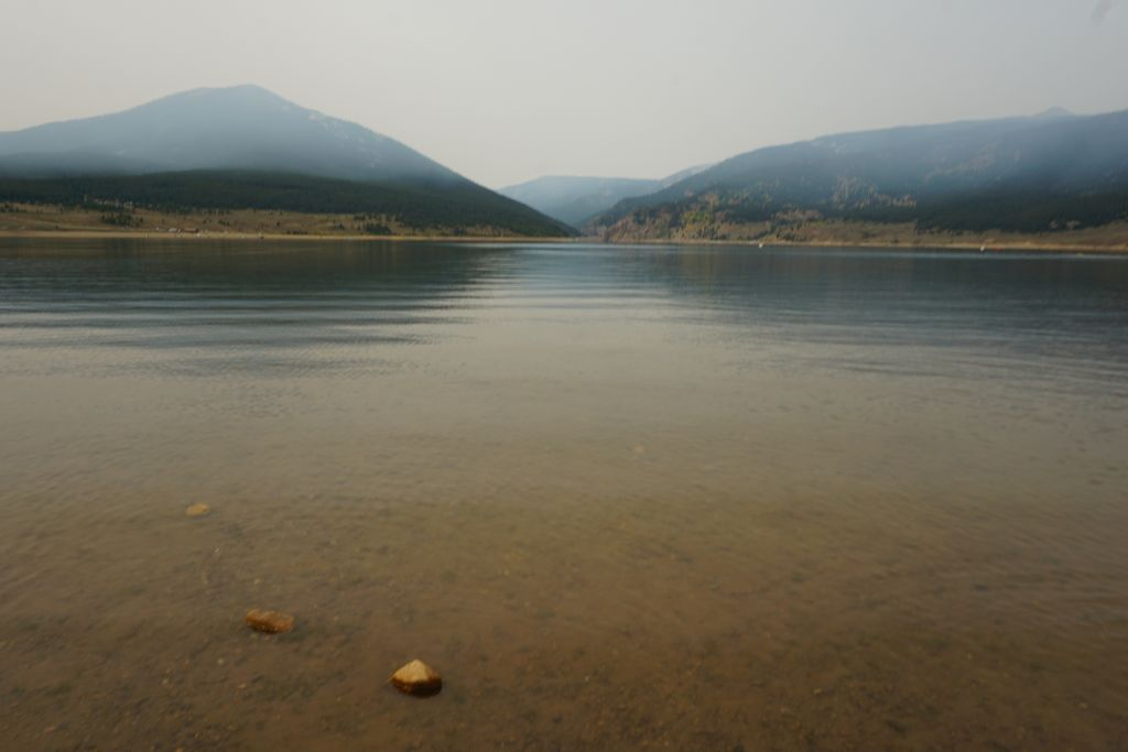 Taylor Park Reservoir in wildfire smoke
