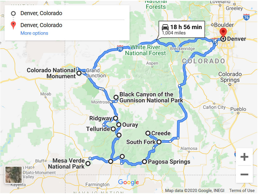 The route for our road trip to Southwest Colorado.